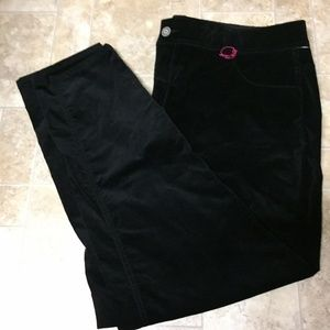 Lane Bryant 26 Black Velvet Velour Pants-#1008